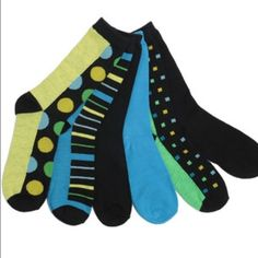 Apple, peacock blue and black crew socks 6 pack of women's crew socks. Lightweight. Comfortable!  Neon green, peacock blue, various patterns in the same color palette. Accessories Hosiery & Socks