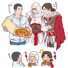 Desmond introduces Altair and Ezio to pizza. Posted on zerochan.net by Terechan.
