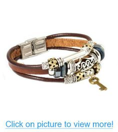 Father's Day Gifts Fashion Plaza Key Design Leather Zen Bracelet for Men, Women, Teens, Boys and Girls - 19cm- L7 #Fathers #Day #Gifts #Fashion #Plaza #Key #Design #Leather #Zen #Bracelet #Men #Women #Teens #Boys #Girls #19cm_ #L7