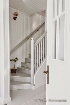 Rustic, beautiful home, white decor, staircase, stairs Cottage Stairs, House Stairs, Small Staircase, Staircase Design, Rustic Staircase, Painted Staircases, Painted Stairs, Entry Stairs, Attic Rooms