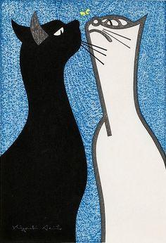 By Kiyoshi Saito, 1952, Steady Gaze (Two Cats) , woodcut.