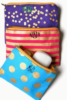 Monogrammed makeup pouches