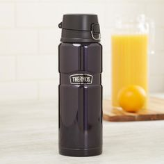Famous for superior heat retention, the Genuine Thermos Brand thermal beverage bottle is an amazing way to bring your hot or cold drink with you. Vacuum insulated for superior temperature retention with durable, stainless steel construction and a locking lid with one hand push button operation, you'll love the look and feel of this thermos.