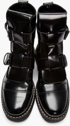 Marni Black Leather Buckle Boots in Black for Men - Lyst