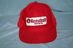 Vintage KENDALL MOTOR OIL Snapback Mesh Trucker Nylon Hat   Cap MADE IN USA  Feather Headband 3a05772b8521