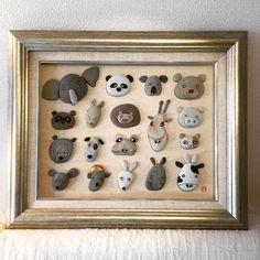 石の自然な模様を利用して、動物たちの顔を石ころで表現して見ました! #石ころ#石ころアート #動物#インテリア#額#アート#顔 #writing #art #japan #design #word #follow #animal #stone