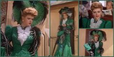 Angela Lansbury in The Harvey Girls (1946)  This green, sequined, cobwebbed and butterflied dress with that enormous hat and matching purse and boa is so over the top. The fluffy ruff fastened with a butterfly brooch to mimic the sequin butterflies on the skirt and purse.