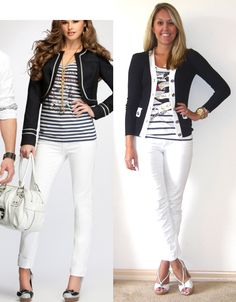 white skinny jeans, striped top and blue cardigan.