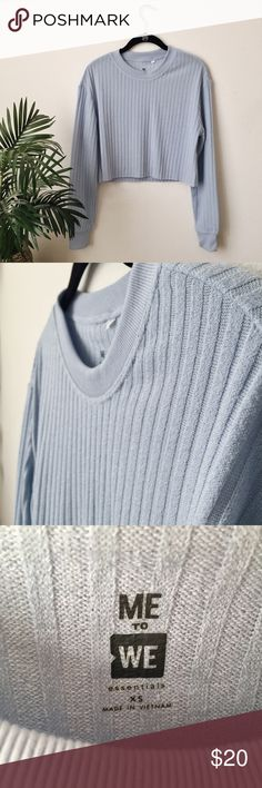 Pacsun blue knitted cropped sweater Nice blue color, perfect for lounging around • Perfect condition • worn once • pretty cropped • Fits more XS/S PacSun Tops Crop Tops