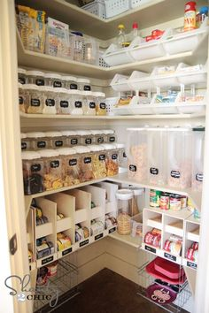 Pantry organizing. Clear bins, open bins and labels make it easy to store and access your stuff.