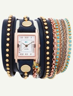 la mer - Navy Gold Bali Rose Gold Case with Turquoise Crystal Chain