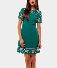 Take a look at this Turquoise Year Lent Short-Sleeve Dress by Almatrichi on #zulily today! $40 !!