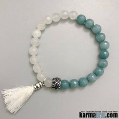 White #Jade is a calming, grounding #stone that also protects the wearer from negative #energies. It brings #peace, #harmony and #luck. #Beaded #Beads #giftsforhim #Bracelet #Bracelets #Buddhist #Chakra #Charm #Crystals #Energy #gifts #Handmade #Healing #Jewelry #Kundalini #LawOfAttraction #LOA #Love #Mala #Meditation #Mens #Reiki #Spiritual #Stacks #Stretch #Womens #Yoga #YogaBracelets #mindfulness #Him #Her #accessories #Art