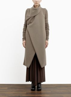 RICK OWENS LILIES - Padded collar wool-blend coat. - on SALE | Neutral Long Coats | Womenswear | Lane Crawford - Shop Designer Brands Online