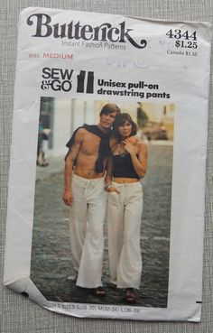 "Pull-on drawstring pants for the man or woman in your life! The tops are not a part of this pattern!  Size Medium Waist 26-1/2 to 28"" Hip 36-38""  The pattern envelope is complete with all 4 uncut and factory folded pattern pieces and instructions. The pattern envelope itself is in excellent condition aside from a curled corner.  The envelope itself is in good condition aside from tiny tears along the flap edge, a little writing on the back of the envelope, and a couple of tiny ..."
