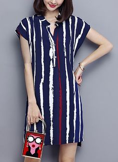 Dark Blue Short Sleeve Stripes A-line Casual Dress Fashion Now, Women's Fashion Dresses, Casual Dresses, Black And White Long Dresses, Collared Shirt Dress, Stripped Dress, African Dress, Dress Skirt, Beautiful Dresses