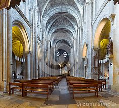Interior and detail of the Notre Dame de Poissy Collegiate Church in France