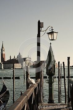 An isolated wooden bridge with a seagull cleaninf its feathers, in vintage hues. In the background St. Giorgio island, in Venice, Italy, Europe.