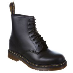 Dr Martens 1460Z DMC 8 Eye Lace Up (198 AUD) ❤ liked on Polyvore featuring shoes, boots, ankle booties, botas, chaussures, black smooth, weekend-offer, black leather boots, black ankle booties and black waterproof boots