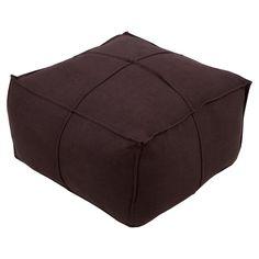 Surya Solid Linen Square Pouf Dark Brown - SLPH008-242413