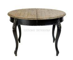Стол обеденный раскладной Louise Folding Тор Table. Круглый обеденный стол с раскладной столешницей, вдохновленный французскими традициями 19 века. Выполнен из массива дуба, топ - брашированный дуб. Покрытие Antique black.