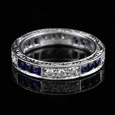 Art Deco Style Platinum Diamond Sapphire Wedding Eternity Band Ring on Etsy, $2,499.00