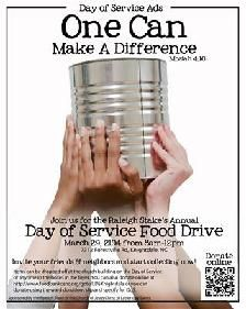 Knightdale & Raleigh 4th ward Day of Service Food drive March 29th, 2014 - link to virtual drive -- Food Bank of Central & Eastern North Carolina -- Food Drive Flier Poster Sign #DayofService #LDS #Fooddrive