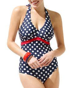 Love this Navy Polka Dot Monroe Halter One-Piece by Panache on #zulily! #zulilyfinds
