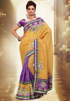 Light #Mustard Art Jute #Silk and Art Bhagalpuri Silk #Saree with Blouse  @ $94.70