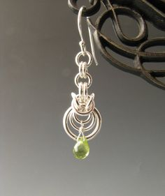Byzantine Ripple Chain Mail Earrings with Peridot – Etsy seller Wolfstone Jewelry