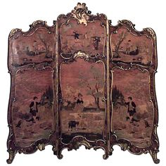 19th c. French Louis XV Style Painted and Gilt-Trimmed Folding Screen image 2