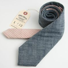 Japanese Indigo Chambray & 1950s Ticking Stripe Two Tone Necktie via General Knot & Co.