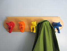 Upcycled Toy Wall Peg Rack with Rainbow Bear Clothes by fbstudiovt, $54.98