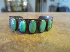 OLD FRED HARVEY Navajo Sterling Silver CACTUS SNAKE Turquoise ROW Bracelet 1930s #FredHarveyEra