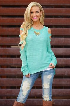 ****Use code REPLAUREN for 10% off PLUS FREE SHIPPING**** Cold Shoulder Sweater - Mint