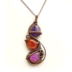 Wire Wrapped Copper Woven Pendant, Pink, Purple and Orange Wrapped Leaves, Colorful Necklace