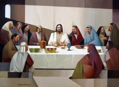 The last supper. Art by Jorge Cocco. Oil on canvas 30x40 in. 2016 art and prints available at www.jorgecocco.com