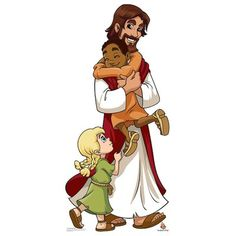 Advanced Graphics Jesus with Children Life Size Cardboard Cutout Standup Cain Y Abel, Idees Cate, Jesus Cartoon, Life Size Cardboard Cutouts, Jesus Drawings, Jesus Artwork, Glinda The Good Witch, Bible Stories For Kids, Kids Class