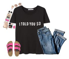 """""""I told you so"""" by classyandsassyabby ❤ liked on Polyvore featuring MANGO, Birkenstock, J.Jill, Casetify, Essie, NARS Cosmetics, Lancôme, Tory Burch, Emily & Ashley and Maybelline"""