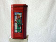London - Tin Litho BoxBritish phone booth red Telephone by ProfessorTiny, $16.00