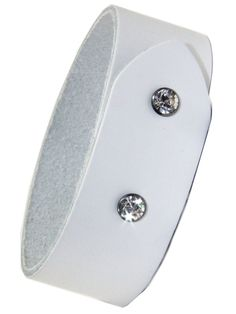Classy and Edgy White Leather Cuff with Swarvoski Snap Closure sold by 2 Lisas Boutique Arm Candy Bracelets, Leather Cuffs, White Leather, Closure