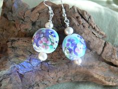 Flower lampwork and fresh water pearl earrings by MarquisCreations, $16.75