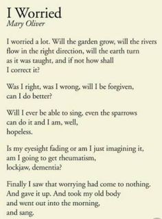 I Worried by Mary Oliver Poem Quotes, Quotable Quotes, Words Quotes, Life Quotes, Sayings, The Words, Cool Words, Pretty Words, Beautiful Words