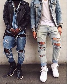 Men also can access all kinds of clothing and accessories necessary to accompany the clothes. Skinny ripped jeans are extremely hard and complicated when wearing. Skinny ripped jeans are available in many unique designs. How To Make Ripped Jeans, Diy Ripped Jeans, Diy Jeans, Men's Jeans, White Jeans, Trill Fashion, Fashion Mode, Style Fashion, Outfit Jeans