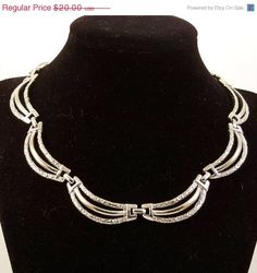 Vintage 1950s Necklace Silver Choker Scallops Waves by Revvie1, $18.00