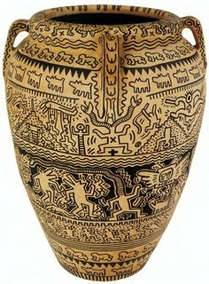 Keith Haring Pen On Terracotta Vase,  42 1/4 x 31 1/2 x 31 1/2 inches