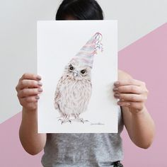 Meet Party Owl. He loves a good party and is never seen without his party hat. Make sure you have your dancing shoes with you if you want to meet Party Owl.  -------SIZE & DETAILS------- Choose from A5 (14.8 x 21cm), 8x10, A4 (21 x 27.9cm) or A3 (29.7cm x 42cm) Framed prints will be mounted on a natural wood frame with durable plastic front protection for safety. (see pic.02)  Paper: Archival Matte Paper with a slight texture.   -------SHIPPING------- Your print(s) will be carefully…
