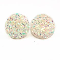 XL Iridescent White Faux Druzy Earrings Handmade earrings with iridescent white faux druzy charms. Bundle 3 pairs for $12, comment with your choices or create a bundle to get discount. ❤️. Customer photos shown for size comparison only. Handmade Jewelry Earrings
