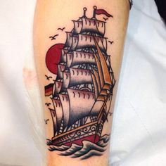 ~ Old School tattoo ~ ship by Giuseppe Morello