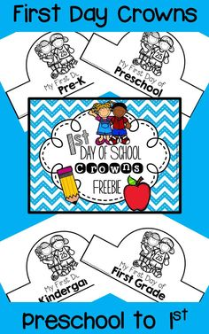First Day of School Crowns FREEBIE FREEBIE! Includes crowns for preschool, pre-k, kindergarten, grade and grade. Preschool First Day, Beginning Of Kindergarten, First Day Of School Activities, 1st Day Of School, Beginning Of The School Year, School Days, School Week, School Stuff, School 2017